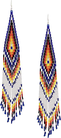 Jessie Western beaded long earrings - Azul