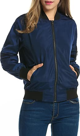 Zeagoo Womens Classic Solid Biker Jacket Zip Up Bomber Jacket Coat