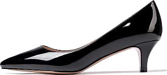 EDEFS Womens Pointed Toe Mid Heel Court Shoes Low Heel Pumps Black EU40