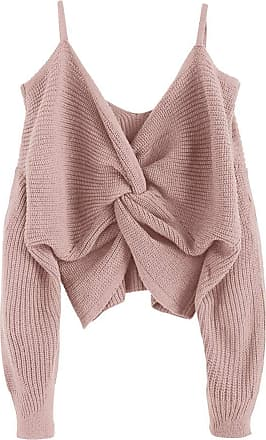 Zaful Womens Sexy Strapless Shoulder Knotted Loose Knitted Jumper Tumblr Sling Top Short Jumper - Pink - L