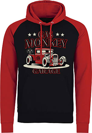 Gas Monkey Garage Officially Licensed Texas Rod Baseball Hoodie (Red), XXL