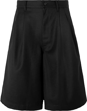 Comme Des Garçons Wide-leg Pleated Wool-twill Shorts - Black