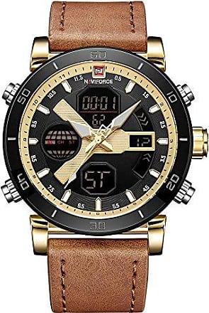 NAVIFORCE Relógio Masculino Naviforce NF9132 GGLBN Pulseira em couro - Marrom e Dourado