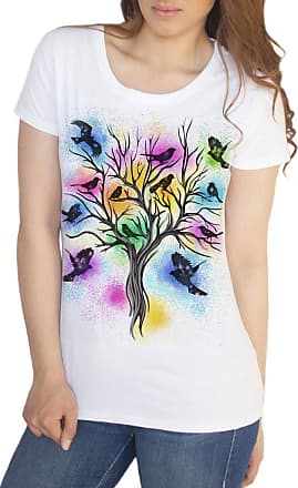 Irony Womens White T-Shirt Bird Tree Beautiful Paint Splatter Brush Effect Print TS925 (XLarge)
