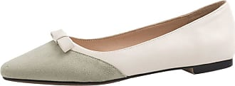 Mediffen Womens Comfort Pointed Toe Slip On Bowknot Flats Dress Fahion Flat Shoes Green Size 40 Asian