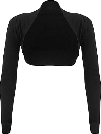 Top Fashion18 Top Fashion Womens Long Sleeve Ladies Short Cropped Open Shrug Bolero Cardigan Top UK Size 8-26 Black