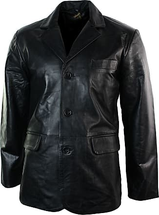 Infinity Mens Real Leather Jacket Black Smart Casual Classic Blazer Retro Vintage