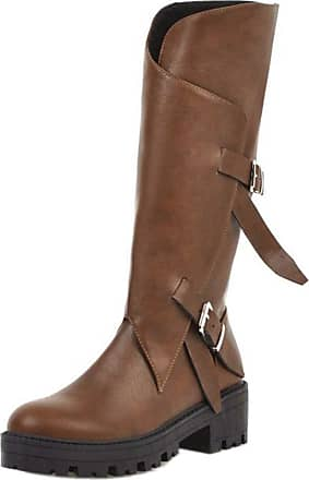 RAZAMAZA Women Fashion Chunky Heel Long Boots Platform Buckle Boots Block Heel Party Shoes Zip Brown Size 38 Asian
