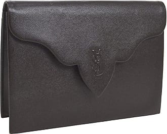 cb86cffb0c Saint Laurent Ysl Chocolate Brown Leather Envelope Evening Flap Clutch Bag