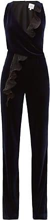 Galvan Pirouette Ruffled-panel Velvet Jumpsuit - Womens - Navy Multi