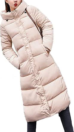 VITryst Womens Winter Solid Down Jacket Zip Quilted Hooded Long Puffer Down Coat,Khaki,X-Large