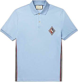 562d0e514b8e Gucci Logo-appliquéd Striped Cotton-blend Piqué Polo Shirt - Light blue