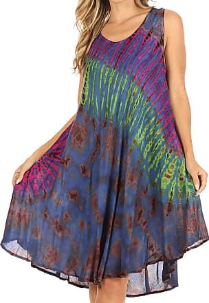 Sakkas 18805 - Natalia Womens Summer Sleeveless Tie Dye Flare Tank Top Tunic Blouse - Blue - OS