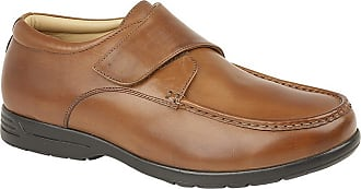 Roamers Mens Leather XXX Extra Wide Touch Fastening Casual Shoe (9 UK) (Tan)