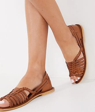 Warehouse strappy leather sandals in tan