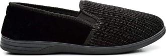 Zedzzz Mens Black Velour Striped Twin Gusset Slipper - Richard - Black - size UK Mens Size 13