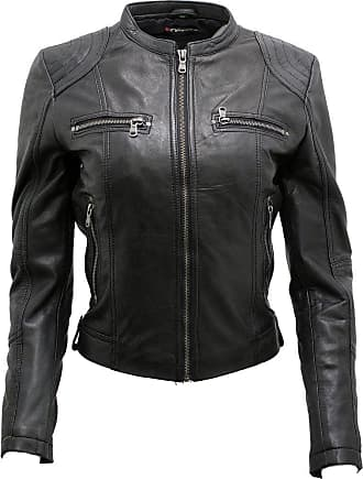 Infinity Womens Classic Real Black Leather Biker Jacket 18