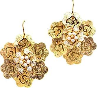 Tinna Jewelry Brinco Dourado Flor Estampada