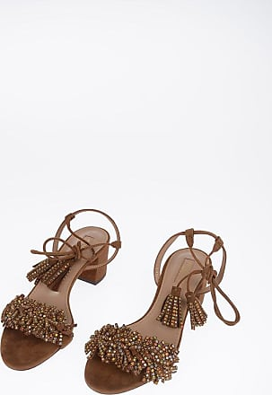 Aquazzura 6cm Suede Leather WILD CRYSTAL Sandals with Tassels size 37,5