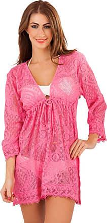 Lora Dora Beachwear Womens Cotton Crochet Kaftan Cover UP Tunic TOP Mini Dress Girls Ladies Pink 8-10