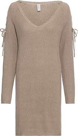 Bonprix Dam Stickad klänning med cut-outs i brun lång ärm - RAINBOW 89e2a116787c1