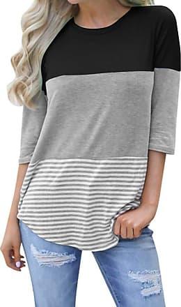 NPRADLA Womens Shirts 2020 Loose Striped Patchwork Lace Three Quarter Sleeve Tops (XL, Black)