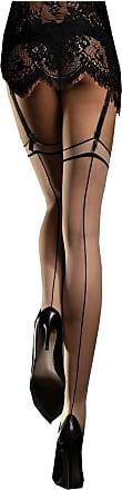 Fiore MADAME 20 Den contrasting back seam stockings by Fiore Paris of the 50s (Pouder/Black, 3 - Medium)