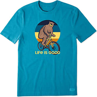 Life is good Mens Biking Bear Crusher Tee XXXL Heather Seaport Blue