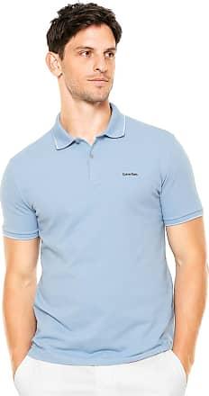 51b54c485 Calvin Klein Camisa Polo Calvin Klein Reta Azul