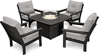 POLYWOOD Outdoor POLYWOOD Vineyard 5 Piece Conversation Set with Fire Pit Table Antique Beige - PWS411-2-TE8322
