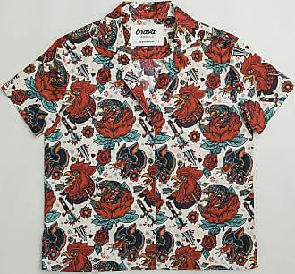 Brava Fabrics Camisa Hombre Manga Corta - Camisa Aloha para Hombre - Camisa Casual Regular Fit - 100% Algodón - Modelo Oldschool Tattoo