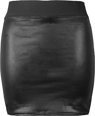 Purple Hanger Womens Wet Look Faux Leather Ladies Pencil Fitted Stretch Elastic Waistband Wiggle Midi Skirt Plus Size (24/26, Wet Look Mini Skirt)