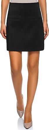 oodji Womens Trapeze Skirt with Decorative Pockets, Black, UK 14 / EU 44 / XL