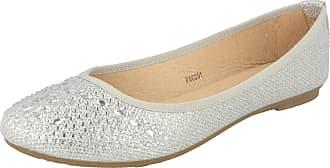 Spot On Ladies Glittery Flat Party Shoes - Silver Glitter - UK Size 4 - EU Size 37 - US Size 6