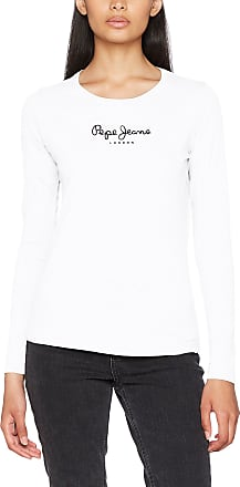 Pepe Jeans London Womens New Virginia LS PL502755 T-Shirt, White, Small