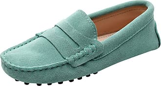 Jamron Womens Classic Suede Penny Loafers Comfort Handmade Slipper Moccasins Light Green 24208 UK6