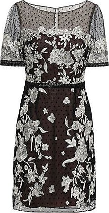 2cb91f9bef Marchesa Marchesa Notte Woman Embroidered Flocked Tulle Mini Dress Black  Size 12