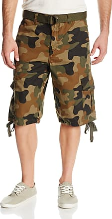Southpole Mens Belted Ripstop Basic Cargo Short with Washing All Season