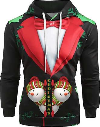 JERFER Ugly Christmas Man Xmas Shirt 3D Printed Santa Leisure Long Sleeve Hoodie Shirt