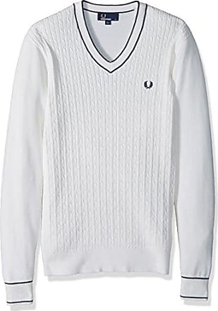 Fred Perry Mens Cable Knit V-Neck Jumper, Snow White, X-Large