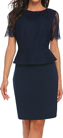 Zeagoo Womens Business Round Neck Short Sleeve Lace Patchwork Dark Blue Bodycon Midi Dress