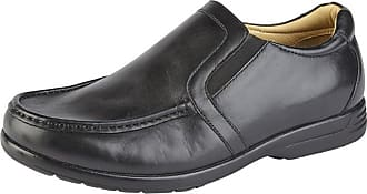 Roamers Roamer Mens Leather XXX Extra Wide Fit Twin Gusset Slip On Lightweight Casual Shoes (10, Black)
