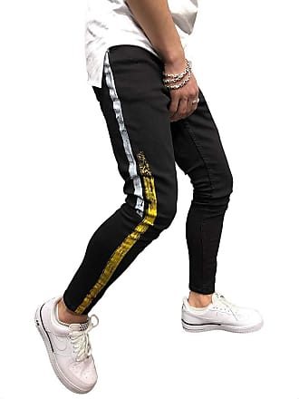 junkai Men Casual Color Strip Matching Jeans Pants Small Feet Casual Pants Men Pants Hiphop Pant Taper Trousers Black 32