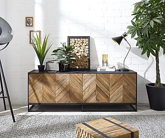 DELIFE Sideboard Famke 175x45 cm Exotic Wood Fishbone 4 Türen, Sideboards