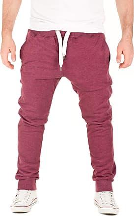 Yazubi Mens Trousers Bottoms Gym Tracksuit Running Edward Sweatpants Slim Fit Sports Pockets Maroon Burgundy, Red (Plum Wine 181411), S