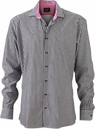 James & Nicholson Mens JN632 Stripe Shirt Graphite-White/Purple XL
