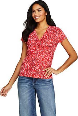Lands End Gemustertes Shirt mit V-Ausschnitt aus Baumwoll/Modalmix - Orange - 40-42 von Lands End