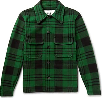 Ami Checked Wool-blend Jacket - Green