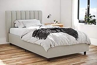 Dorel Home Products Novogratz Brittany Upholstered Platform Bed Frame, Grey Linen, Twin