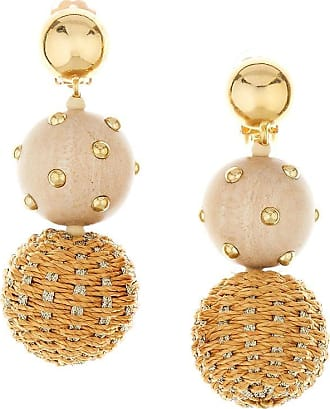 Oscar De La Renta embroidered-detail drop earrings - NEUTRALS